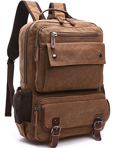 Aidonger Canvas School Bag Laptop Backpack Hiking Rucksack (Coffee)