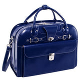 "McKlein USA Roseville Navy 15.6"" Leather Fly, Friendly Detachable, Wheeled Ladies' Briefcase (96647)"