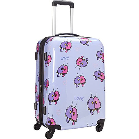 Ed Heck Multi Love Birds Hardside Spinner Luggage 25 Inch, Light Purple, One Size