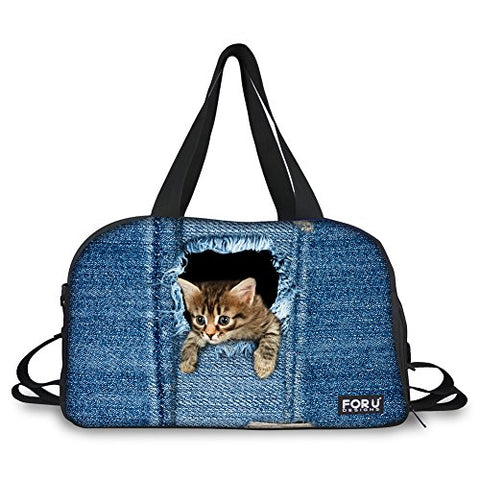 Hugsidea Funny Pet Cat Head Patteran Outdoor Travel Duffel Batg Jeans Blue Sport Handbag For Women