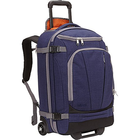 "eBags TLS Mother Lode Rolling Weekender 22"" Travel Backpack with Wheels - Carry-On - (Brushed Indigo)"