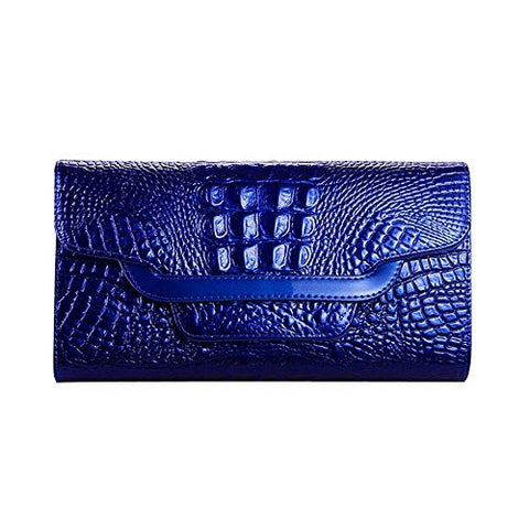 Women Handbag Money Coin Purses Holder Alligator Crocodile Long Clutch Wallets (Color - Blue #3)