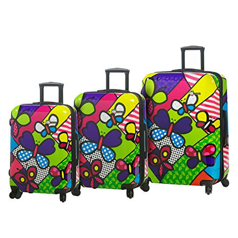 Mia Toro Italy M Butterflies Hardside Luggage 3 Piece Set, BTF, Multi-Colored