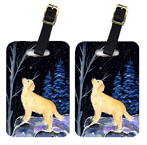 Caroline's Treasures SS8392BT Starry Night Golden Retriever Luggage Tags Pair of 2, Large,