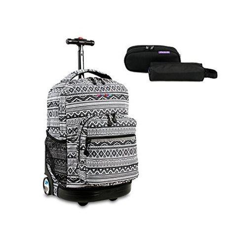 J World New York Sunrise Rolling Backpack w/ Free Jojo Pencil Case (Tribal/Black)