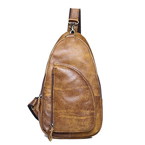 Sealinf Men'S Full Grain Leather Chest Bag Cross Body Sling Backpack (Brown)