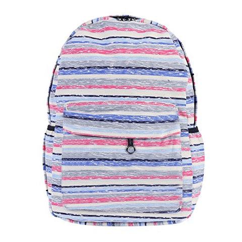 Damara Womens Colorful Stripes Patterned Canvas Backpack,Blue