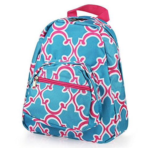Zodaca Kids Small Backpack, Blue Quatrefoil