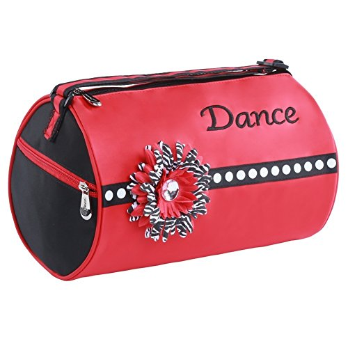 "Sassi Designs Girls Red ""Dance"" Flower Fully Lined Scarlet Small Roll Duffel"