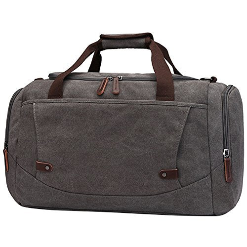 Canvas Duffel Bag, Vintage Canvas Weekender Bag Travel Bag Sports Duffel with Shoulder Strap Gray