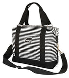 Travel Weekender Overnight Carry-On Under The Seat Shoulder Tote Bag (Small, White & Black Stripes)