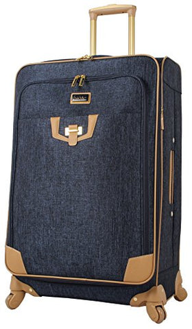 "Nicole Miller Luggage Carry On 20"" Expandable Softside Suitcase With Spinner Wheels (20 in, Paige Navy)"