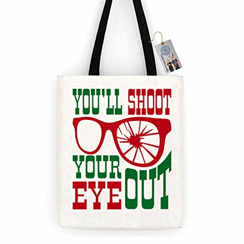 Christmas Story Shoot Your Eye Out Cotton Canvas Tote Bag Day Trip Bag Carry All