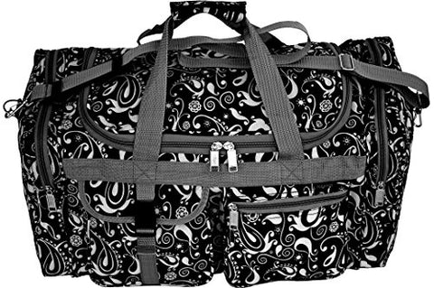 Explorer Flower Paisely Travel Duffel Bag Foldable Lightweight for Women & Men YKK Zipper Gym Carry