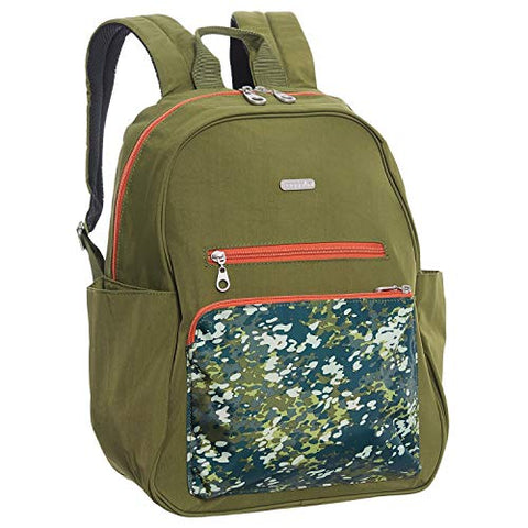 Baggallini Women's Cargo Backpack with Laptop Pocket Green Scatter