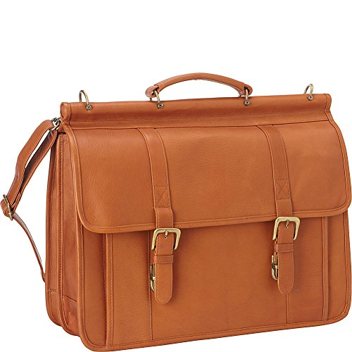 Le Donne Leather Classic Dowel Rod Laptop Briefcase, Tan
