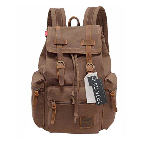 Canvas Backpack, P.Ku.Vdsl-Augur Series Vintage Canvas Leather Backpack Hiking Daypacks Computers