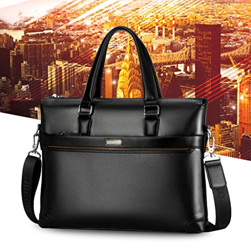 Men Handbag Briefcase Shoulder Computer Business Bag Wallet Set (BK)
