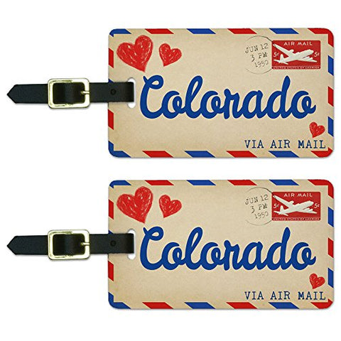 Graphics & More Air Mail Postcard Love for Colorado Luggage Suitcase Carry-on Id Tags, White