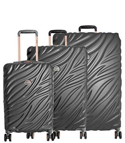 "Delsey Paris Alexis 3-Piece Lightweight Luggage Set Hardside Spinner Suitcase with TSA Lock (21""/25""/29"") (Platinum/Rose Gold)"