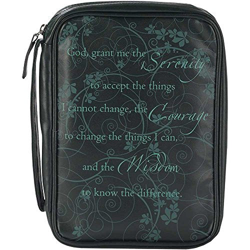 Serenity Prayer Black 8 X 11 Inch Leather Like Vinyl Bible Cover Case With Handle Large