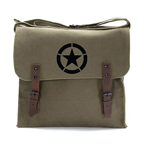 World War 2 Military Jeep Star Army Heavyweight Canvas Medic Shoulder Bag in Olive & Black