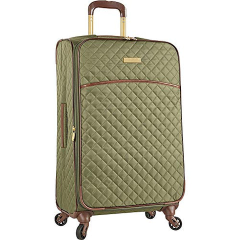 "Anne Klein 25"" Expandable Softside Spinner Luggage, Olive Quilted"
