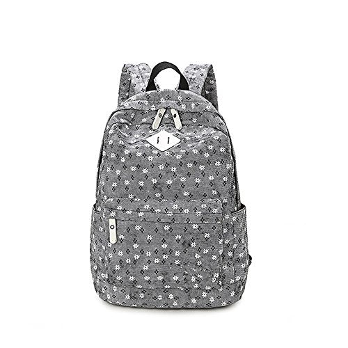 S Kaiko Flower Pattern Canvas Backpack Casual Daypacks School Backpack for Women and Men Laptop Backpack Daypack Rucksack Traveling Backpack for Hiking Claimbing (black)