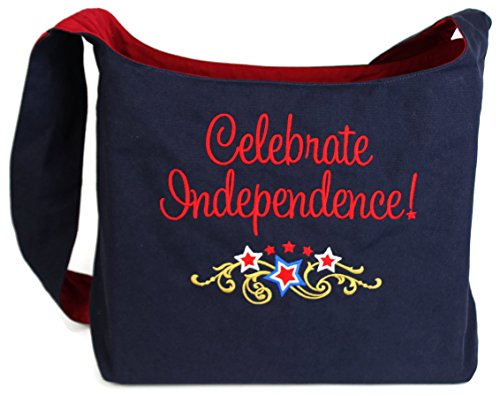 Dancing Participle Celebrate Independence Patriotic Embroidered Sling Bag