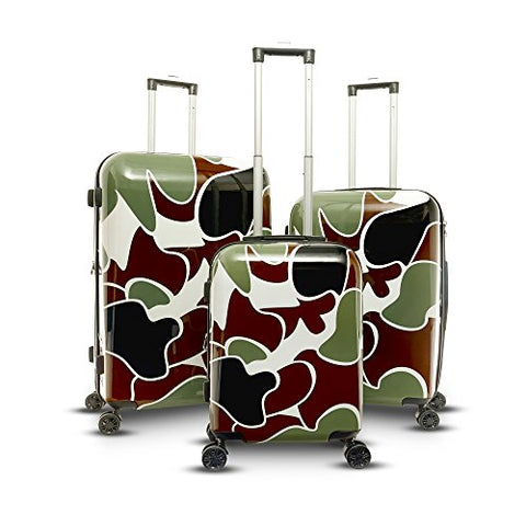 Gabbiano Camo Collection 3 Piece Hardside Spinner Set (Green)
