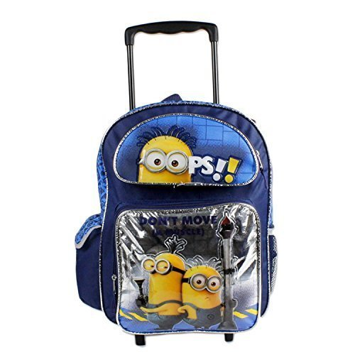 "16"" Despicbale Me Blue Roller Backpack with 3 Minions of Front ""Don't move a Muscle"""
