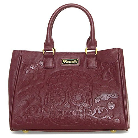 Loungefly Sugar Skull Day of the Dead Vegan Burgundy Shoulder Bag Handbag Purse