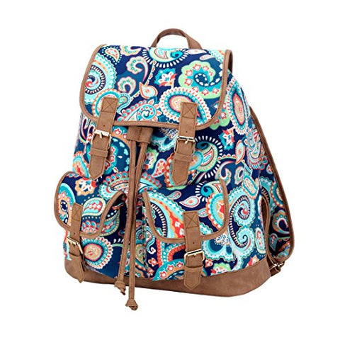 Fashion Print Faux Leather Buckles Drawstring Campus Backpack (Paisley - Blank)