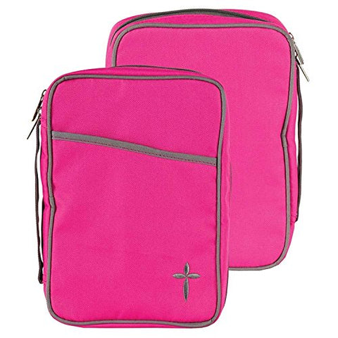 Pink Denier Polyester Canvas Large Print Bible Cover