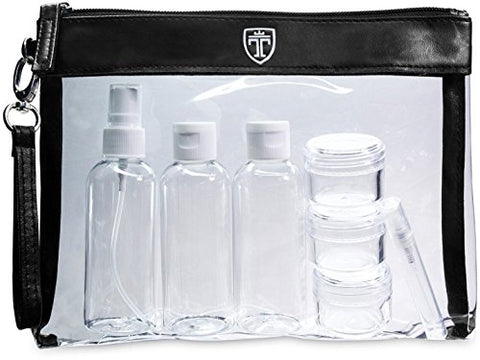 Travando Clear Toiletry Bag With 7 Bottles (Max.3.38Oz) | Tsa Travel Set For Liquids |