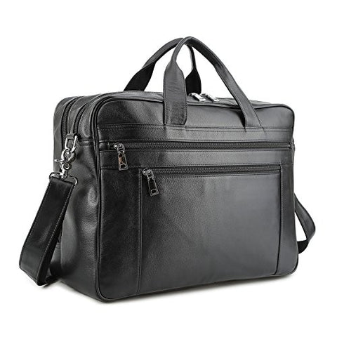 BAIGIO Men's Briefcase Real Calfskin Leather Laptop Bags Messenger Bags Multi-Pocket Business