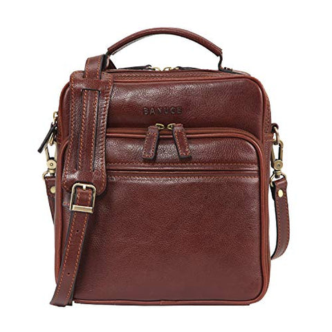 Banuce Small Vintage Full Grain Italian Leather Messenger Bag for Men Tote Satchels Crossbody Bag