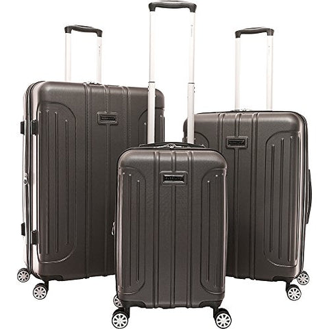 Gabbiano Viva 3 Piece Expandable Hardside Spinner Luggage Set (Dark Grey)