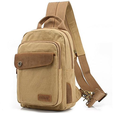 Sling Bag, AUGUR Chest Shoulder Backpack, Casual Canvas Cross Body Backpack for Men Women Travel