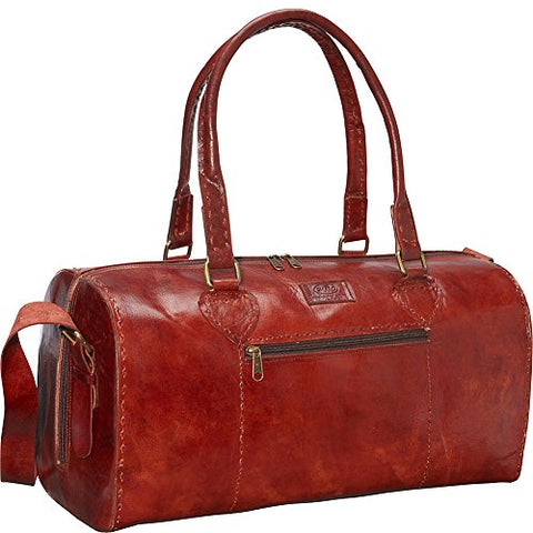 Sharo Leather Bags Red Round Duffle Bag (Red)