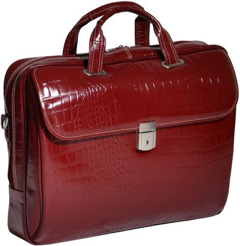 Siamod Monterosso Settembre Italian Leather Medium Ladies' Laptop Brief - Cherry