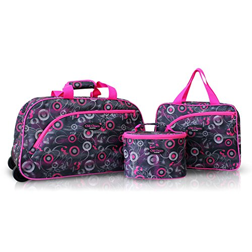 3pc Rolling Wheel Travel Bag and Cosmetic Bag Purse Tote Set Pink Circles
