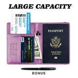 Passport Holder Cover wallet Case-Leather RFID Blocking Travel Document Organizer with Bonus Pen