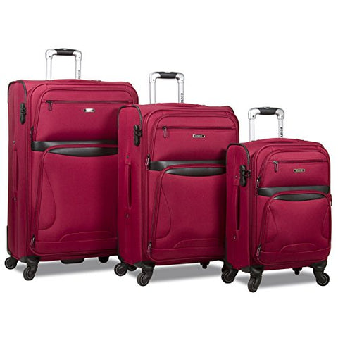 Rolite Explorer 3-Piece Expandable Spinner Luggage Set - Burgundy