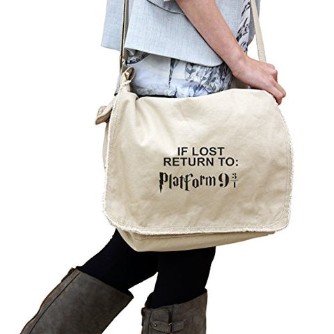 If Lost Return To Platform 9 3/4 14 Oz. Authentic Pigment-Dyed Raw-Edge Messenger Bag Tote