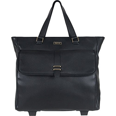 "Kenneth Cole Reaction Runway Call Pebbled Faux Leather Wheeled 15"" Laptop Business Tote, Black"
