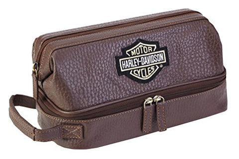 Harley-Davidson Deluxe Top Grain Bar & Shield Leather Toiletry Kit 99509 Brown