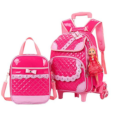 Meetbelify Rolling Backpacks For Girls School Bags Trolley Handbag With Lunch Bag Style B-Rose Red