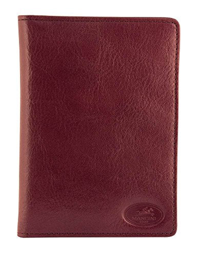 Mancini Leather Goods RFID Secure Deluxe Equestrian Passport Wallet (Dark Wine)