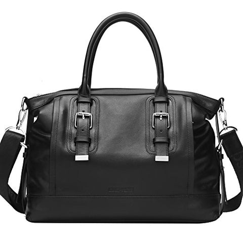 Bison Denim Men'S Genuine Leather Handbag Shoulder Briefcase Business Bag Black